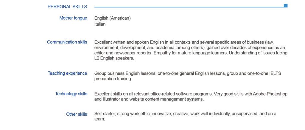 come scrivere il cv in inglese  linee guida con esempi