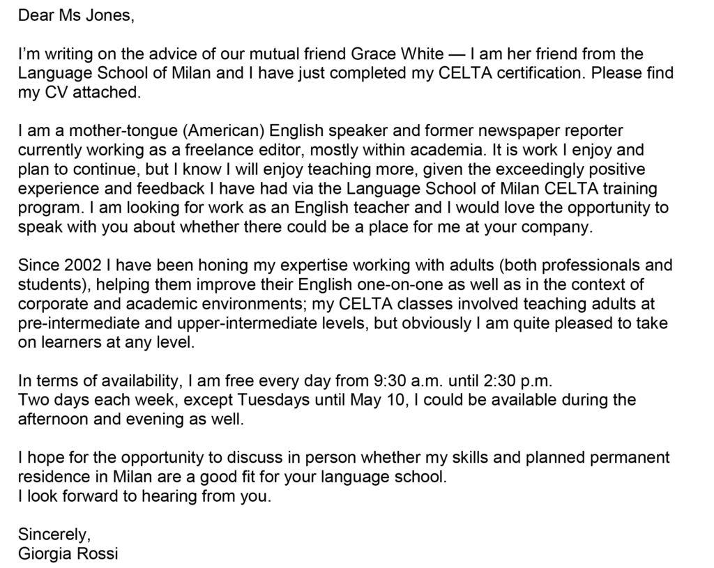 E Scrivere Una Lettera Di Presentazione In Inglese Con Esempio